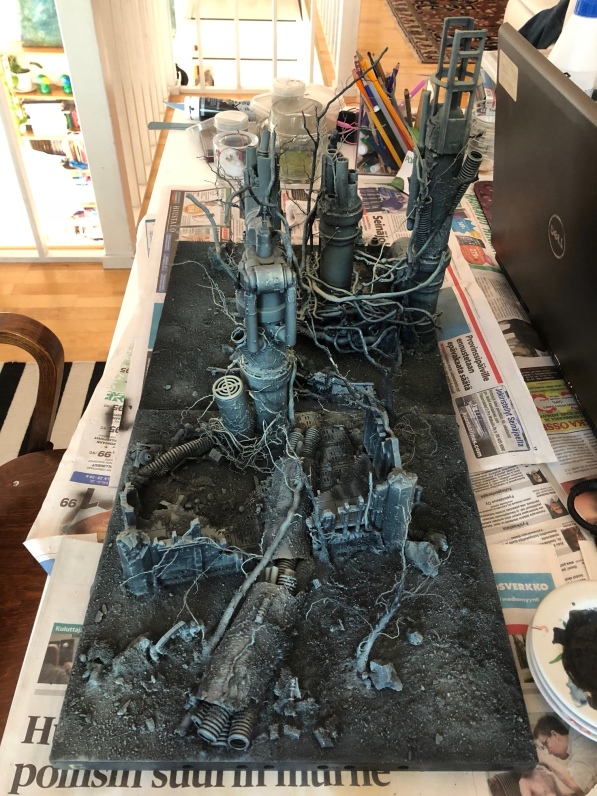 The stunning terrain piece created by Kari beforehand.